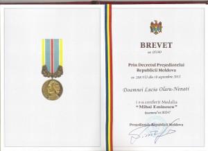 Brevetul si Medalia M. Eminescu, Chisinau, 2013