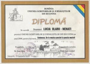8. Diploma Suceava, 2001