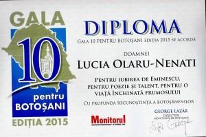 L.O.N Diploma 10 pentru Botosani