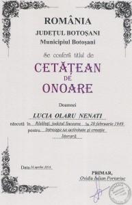 L.O.N Diploma cetatean de onoare