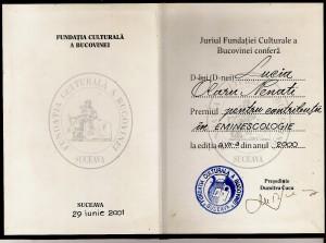 Premiul Fundatiei Bucovina, 2001